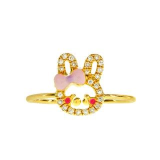 Cincin Berlian dan Emas 75% Sherry Bunny Pink Bow
