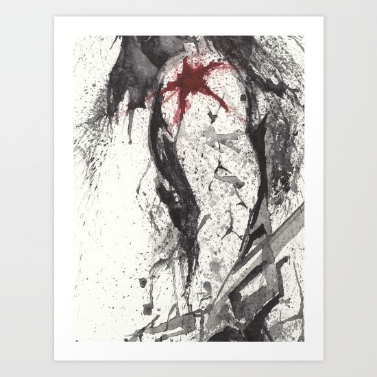 RED STAR - WATERCOLOR SPLATTER ART Art Print