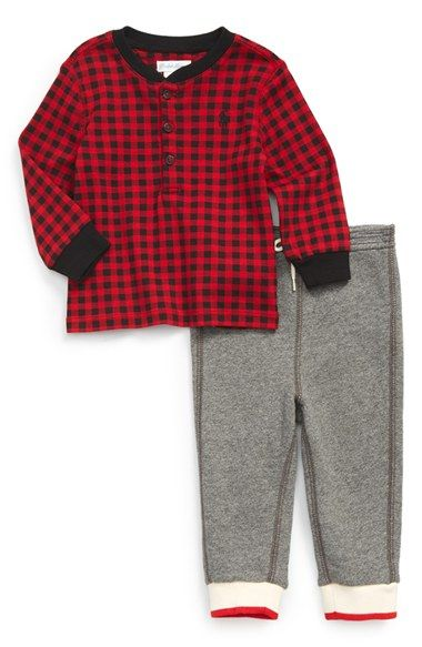 Ralph Lauren Buffalo Check Henley & Knit Pants (Baby Boys) available at #Nordstrom