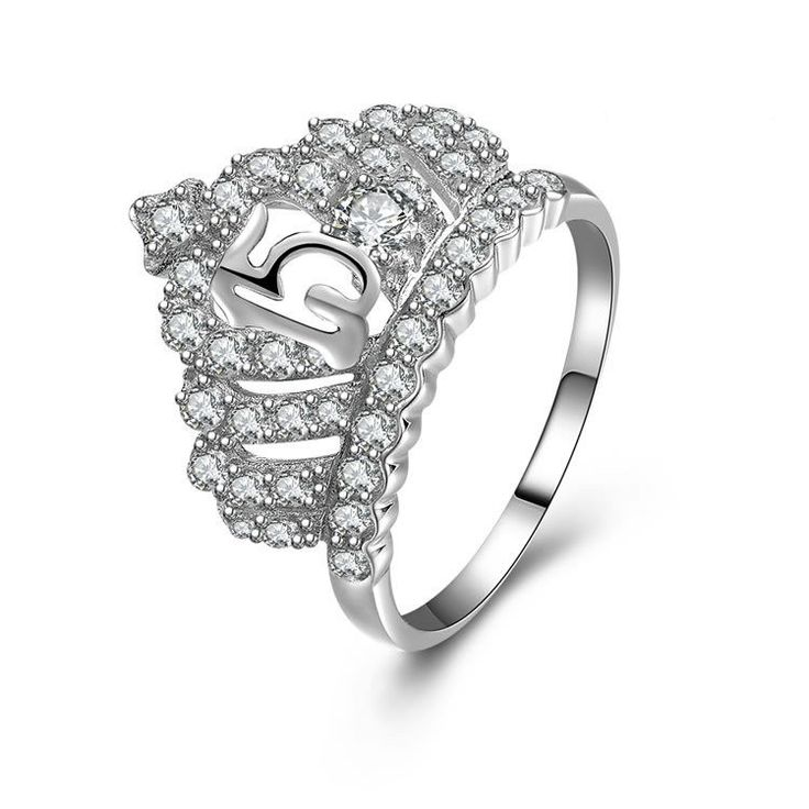 Luxury Women Birthday Gift Crown-shaped Pattern Hollowed 925 Sterling Silver Ring With Zircons