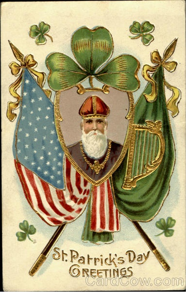 "vintage 1901 (postmark) ""St. Patrick's Day Greetings"" Irish American postcard  --  the old time greetings are such fun -- threw everything they had in this one, holy AND patriotic -- St Patrick (wearing a priest's cassock instead of ""St Patrick's blue"" bishop's robe as per usual), shamrock, the Irish Green flag w/ harp (pre-Easter Rising -- the tricolor wasn't made the national flag until 1922), & the American flag."