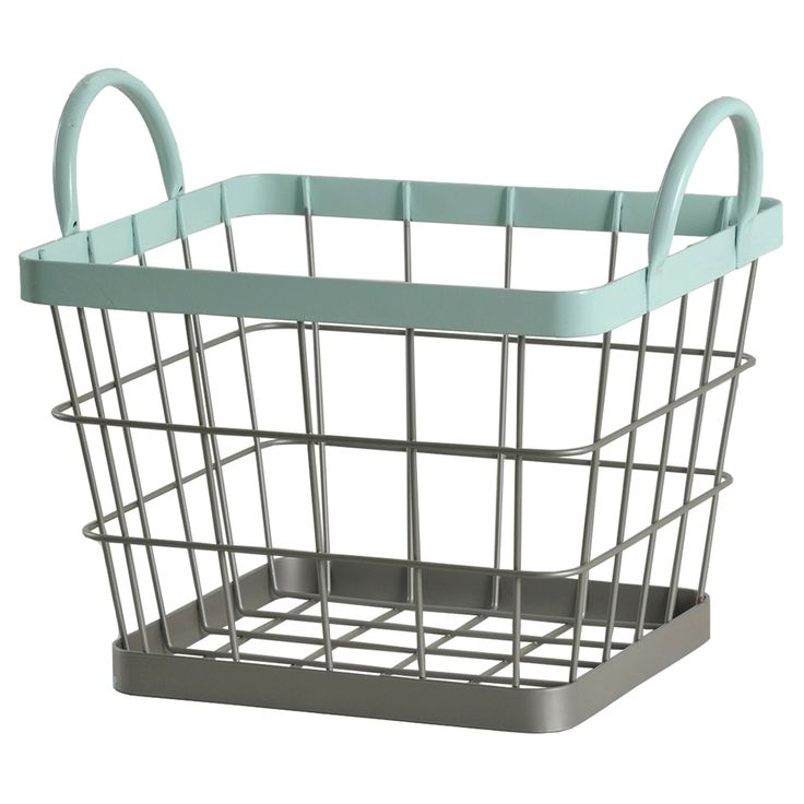 """Circo Wire Milk Crate - Bleached Aqua (Small) $9.99 Add a touch of industrial charm and functionality  with this Circo Small Wire Milk Crate. Tuck one under a table or chair to store toys, books or games. Put them in their closet to hold shirts, shoes or socks. With its top rim and handles in a fun Bleached Aqua color, This crate measures 12.6""""x10.04""""x10.63""""H. Wipe clean with a damp cloth."""