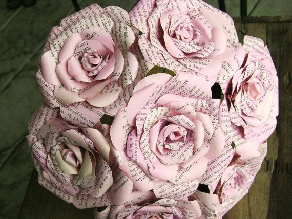 vintage book page paper rose bouquet pastel pink by HBixbyArtworks, $50.00