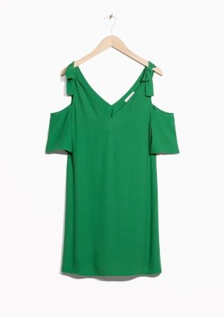& Other Stories image 2 of Cold Shoulder Knotted Dress in Green