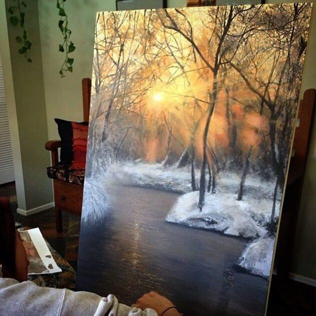 """413 Likes, 18 Comments - Lori gilbert (@lorigilbertart) on Instagram: """"One of my only winter scenes ive painted :)"""""""