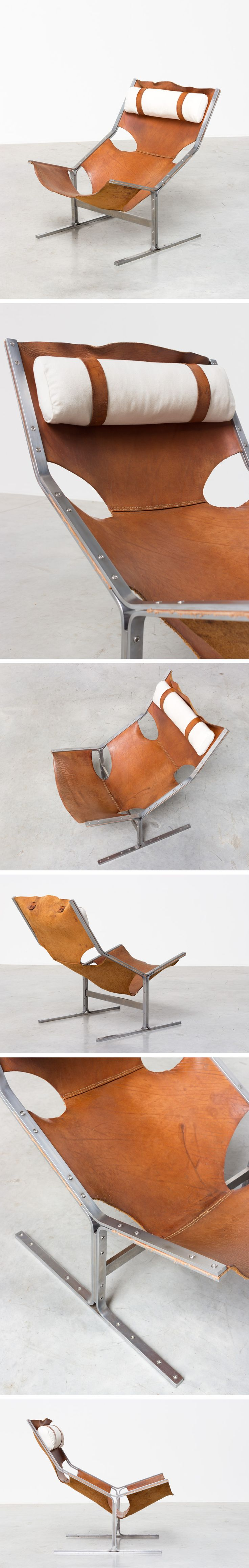 Modernist leather and steel lounge chair AP originals 1960 Large