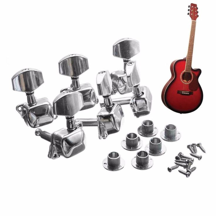 [Visit to Buy] 6PCS(3R+3L) Acoustic Guitar String Semiclosed Tuning Pegs Tuners Machine Heads+Bushing+Screws Guitar Parts & Accessories #Advertisement