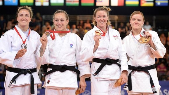 Women's 70kg Judo (left to right) Sally Conway (bronze), Megan Fletcher (gold) Moira de Villiers (silver) Credit: EMPICS