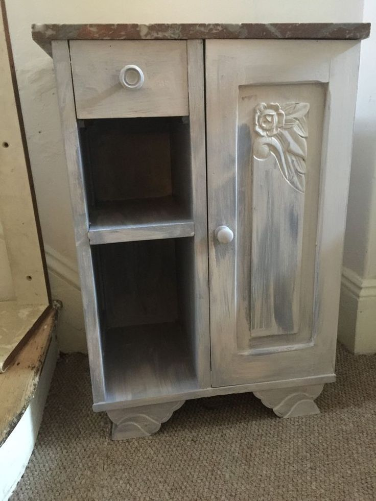 Beautiful Solid Oak Small Cupboard Drawers Solid Marble Top French Shabby Chic  | eBay