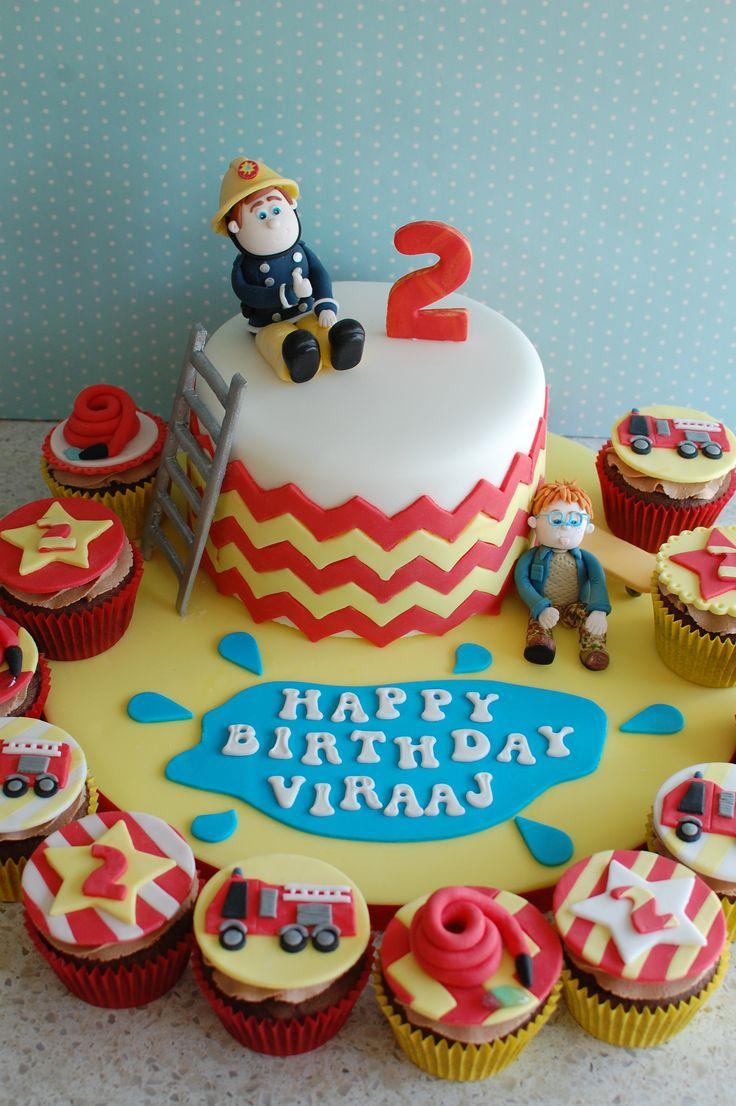 Fireman Sam themed birthday cake and cupcakes.  For Viraaj on his 2nd Birthday.