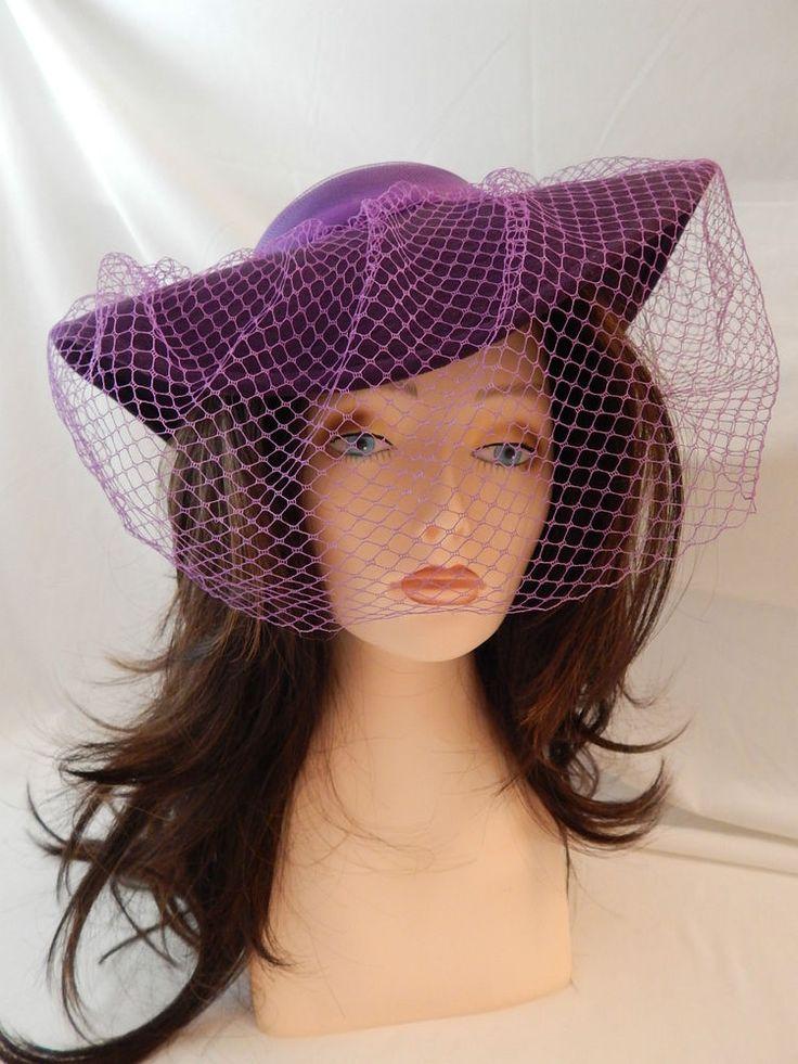Vtg Hat Sonni San Francisco 1970 S Purple W Birdcage