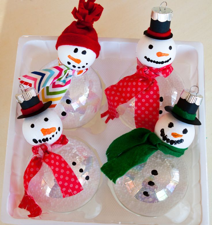 Snowmen ornaments from super fun kids crafts use clear for Crafts with styrofoam balls for kids