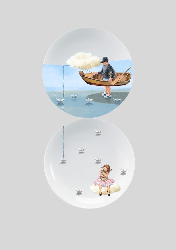 Duo de pratos em porcelana, arte aplicada baseada na minha obra em tela à óleo.