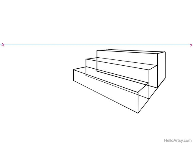 how to draw stairs in one point perspective