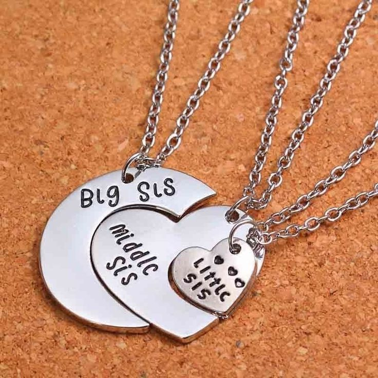 Charm Heart Big Middle Little Sisters Pendant Necklace Best Friends Forever Gift | eBay