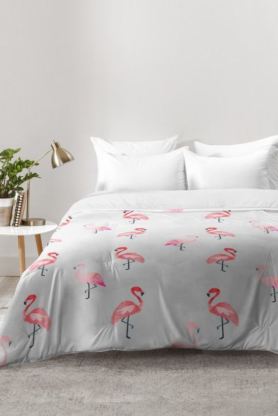 Pink flamingo gray watercolor comforter quilt duvet, unique new apartment housewarming gift, pink birds of paradise tropical bird home decor by happeemonkee on Etsy