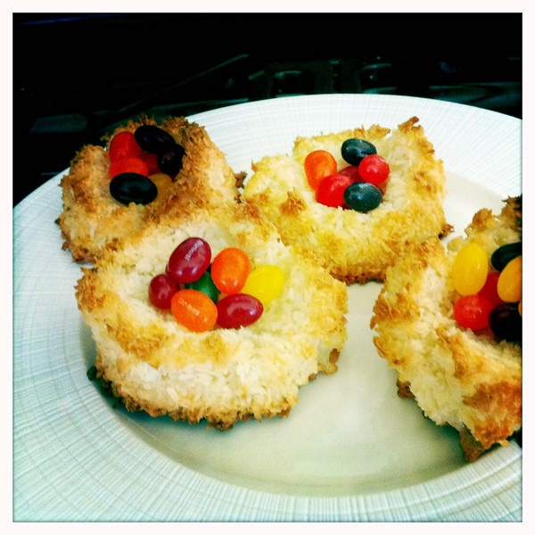 Easter Egg nests - Coconut Macaroons filled with jelly beans.