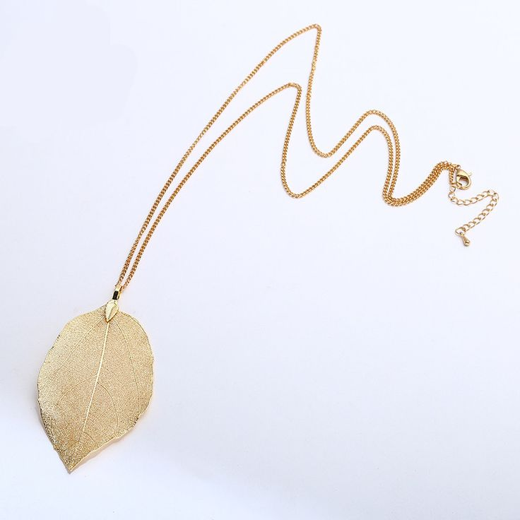 Mdiger Brand Charm Natural Leaf Pendant Women Jewelry DIY Real Leaf Chain Necklace Plated Gold Necklace for Women Accessories