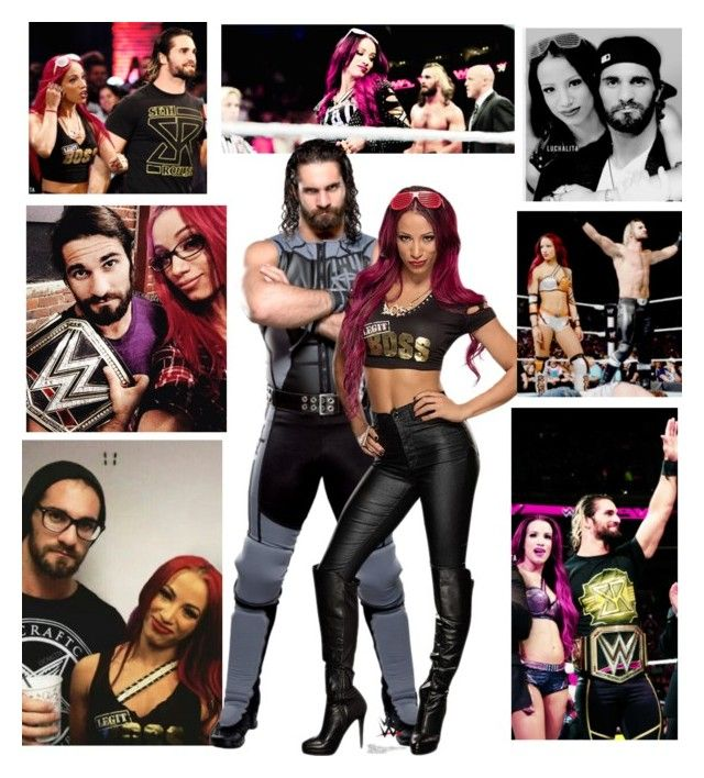 """Sasha Banks & Seth Rollins"" by queenreigns-916 ❤ liked on Polyvore featuring art"