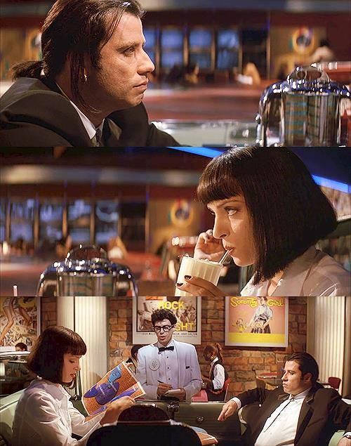 John Travolta as Vincent Vega, Uma Thurman as Mia Wallace and Steve Buscemi as Buddy Holly in Pulp Fiction, 1994