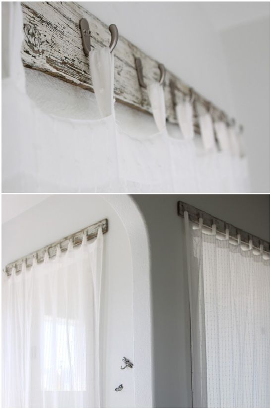 Unique curtain rod made from recycled old bench wood and hooks. Love it!