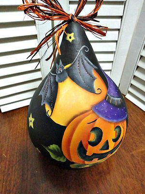 Hand Painted Halloween Pumpkin Bat  Gourd | Crafts, Handcrafted & Finished Pieces, Handpainted Items | eBay!