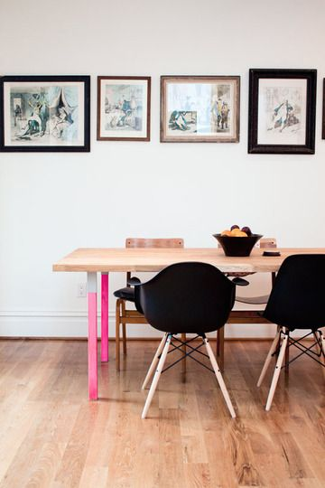 DIY pink (colored) dining table legs. Photo frames and wood/black combo