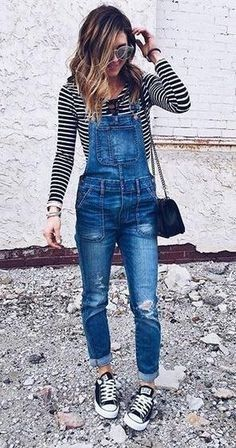 Striped Top & Ripped Denim Overall & Black Converse