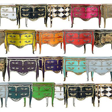 all this wild and wonderful colours on such a traditional piece         - Moissonnier Furniture