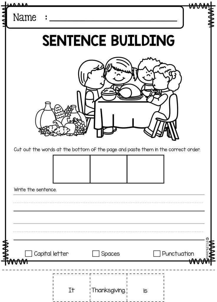 November Sentence Building Writing skills, First grade