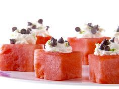 As seen on Giada at Home: Mascarpone-Filled Watermelon #Giada #Watermelon #Marscapone #SummerDessert