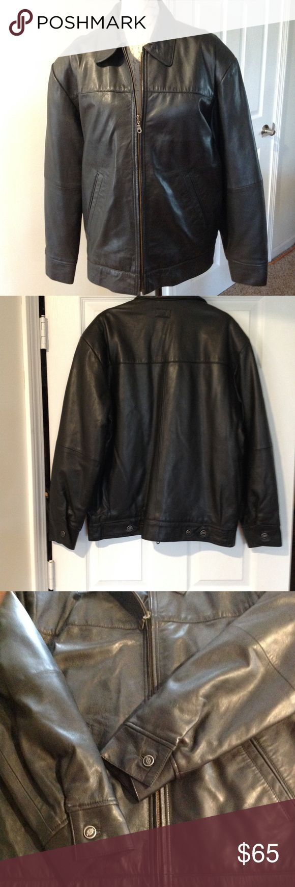 """Dickies Leather Jacket Dickies  black leather Jacket. Fully lined   24"""" across chest, 28"""" shoulder to hem    2 front pockets, one inside zipper pocket. NWOT. Could be Men's or women's jacket Dickies Jackets & Coats"""