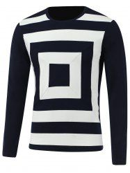 Color Block Box Print Round Neck Long Sleeve T-Shirt