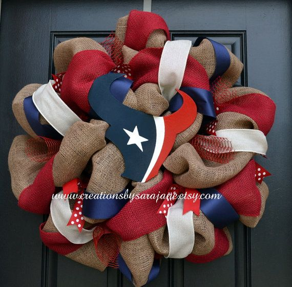 Houston Texans Wreath on Burlap - Burlap Texans Wreath via Etsy - very cute, would give me something to look forward to for football season