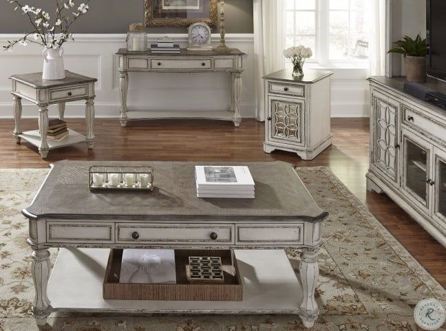 Pin By Rubyceballos On Living Room In 2021 Antique White Coffee Table 4 Piece Coffee Table Set 4 Piece Coffee Table 4 piece living room table set
