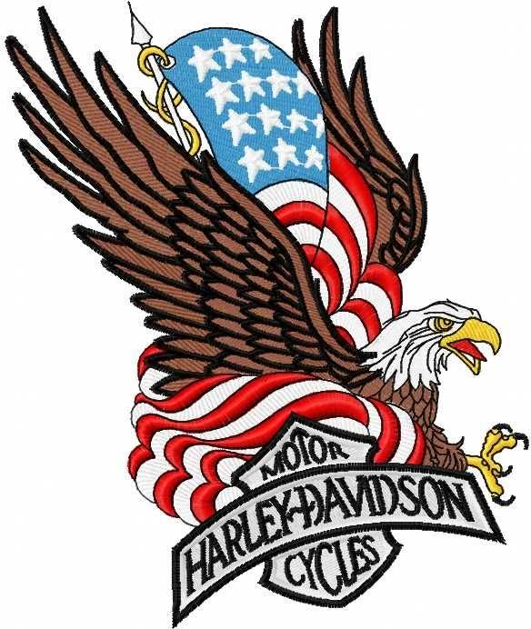 Harley Davidson Patriotic Logo 5 Embroidery Design