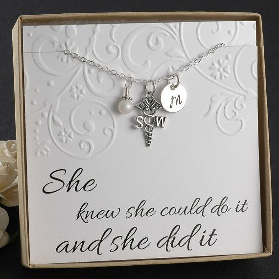 Social Worker Necklace by DivineJewelrybyMary on Etsy. Personalize with a social worker's initials and birth stone for a meaningful holiday gift.