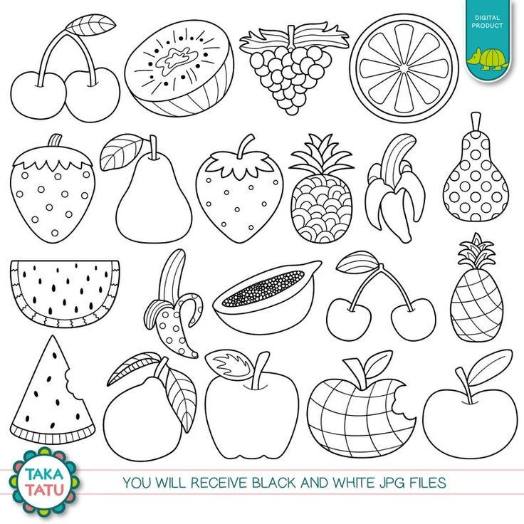 Fruits Digital Stamp Pack Black and White Clipart / Fruits