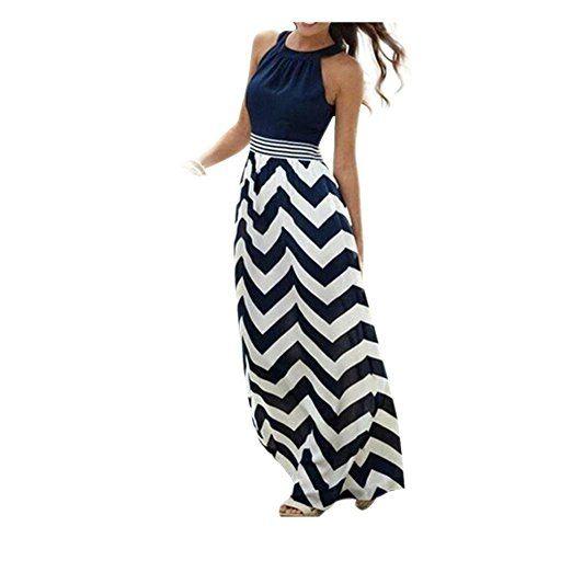 Koly_Maxi BOHO partito sera delle donne del nuovo di modo Summer Long Beach Abiti Sundress (M, Blu)