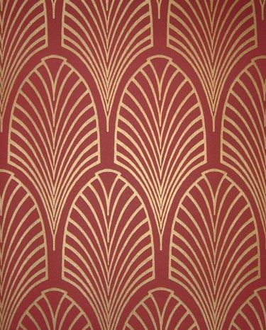 Art Deco Wallpaper... i think I love the idea of this design (with flat paint in the background and ultra gloss paint for the design) up my stair case...
