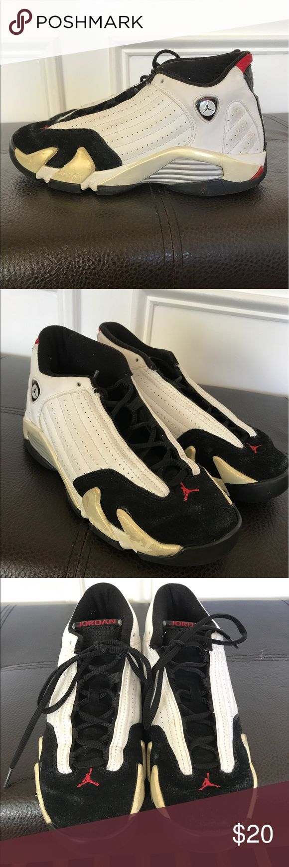 Retro Jordan 14's black, white, red Worn, scuff marks shown in picture. 100% authentic. Size 5 youth or 7 in womens Air Jordan Shoes Athletic Shoes