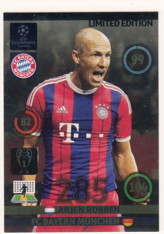 Panini Adrenalyn Xl Uefa Champions League   Arjen Robben Limited Edition Trading Card