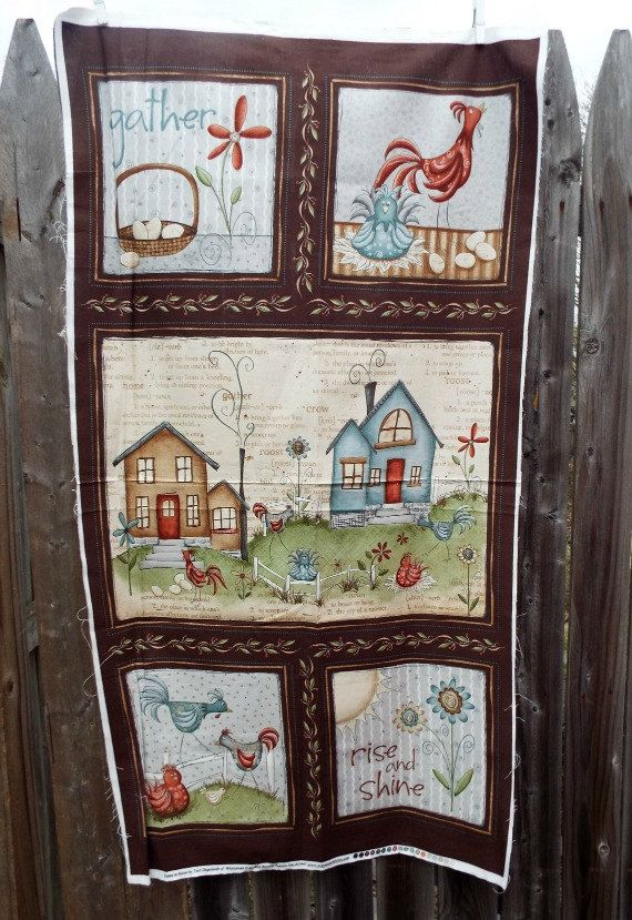 Home To Roost Gather Rise Shine Pillow Fabric Panel Quilt