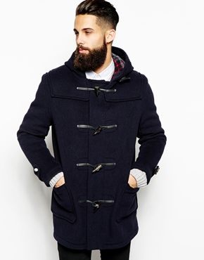 Gloverall Duffle Coat with Check Hood