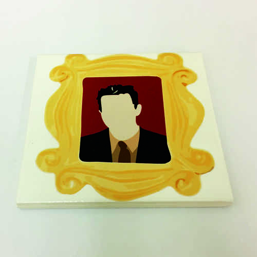 White Ceramic Tile Coaster, perfect for any fan of the hit TV show Friends – Featuring Chandler in the Frame.  Printed at Uveeka's HQ Full colour high quality printing Scratch Resistant, Shower Proof Size – 100 x 100mm High Quality Ceramic Used Gloss Finish