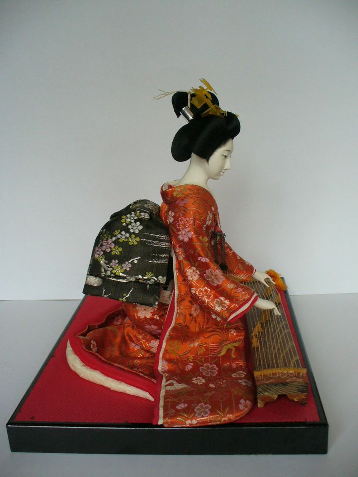 Vintage Elegant Japanese Geshia Kimono Doll Figure Playing Koto Instrument | eBay