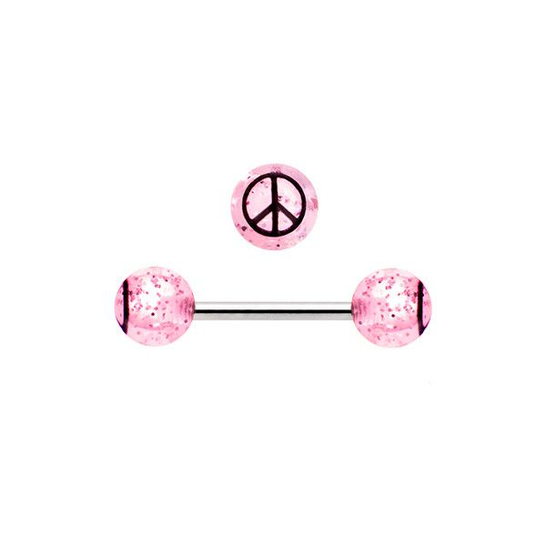Pink Glitter Black Peace Sign Barbell Tongue Ring | Body Candy Body Jewelry…