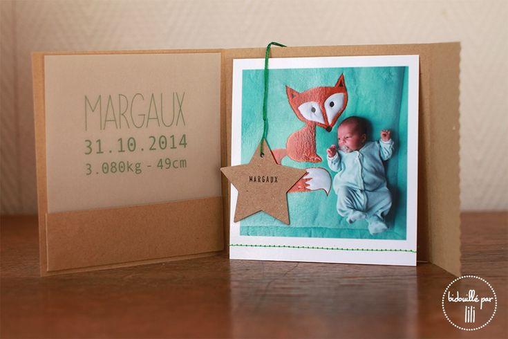 Un faire-part de naissance format pochette, avec comme souvent chez Bidouillé par lili, une touche de kraft, d'origami et de couture. Format: P...
