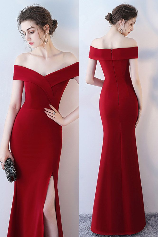 c5347d78886 Prom Dresses Burgundy Side Slit Mermaid Formal Dress Off Shoulder  HTX86048  at GemGrace. View more special Special Occasion Dresses