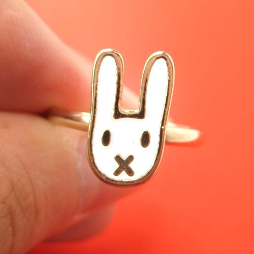 Simple Adjustable Bunny Rabbit Animal Ring in White on Gold $5 #bunny #rabbit #animals #jewelry #earrings